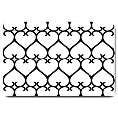 Heart Background Wire Frame Black Wireframe Large Doormat  by Mariart