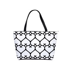 Heart Background Wire Frame Black Wireframe Shoulder Handbags by Mariart