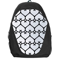 Heart Background Wire Frame Black Wireframe Backpack Bag by Mariart