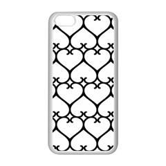 Heart Background Wire Frame Black Wireframe Apple Iphone 5c Seamless Case (white) by Mariart