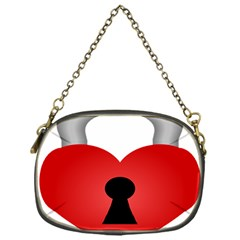 Heart Padlock Red Love Chain Purses (one Side)  by Mariart