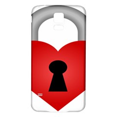 Heart Padlock Red Love Samsung Galaxy S5 Back Case (white) by Mariart