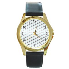 Glasses Black Blue Round Gold Metal Watch by Mariart