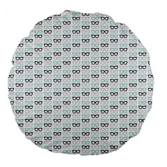 Glasses Black Blue Large 18  Premium Flano Round Cushions by Mariart
