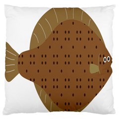 Illustrain Animals Reef Fish Sea Beach Water Seaword Brown Polka Large Flano Cushion Case (two Sides) by Mariart