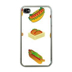 Hot Dog Buns Sauce Bread Apple Iphone 4 Case (clear) by Mariart