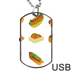 Hot Dog Buns Sauce Bread Dog Tag Usb Flash (two Sides) by Mariart