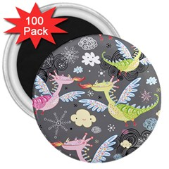Dragonfly Animals Dragom Monster Fair Cloud Circle Polka 3  Magnets (100 Pack) by Mariart