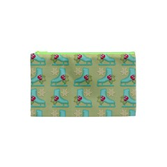 Ice Skates Background Christmas Cosmetic Bag (xs) by Mariart