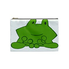 Illustrain Frog Animals Green Face Smile Cosmetic Bag (medium)  by Mariart