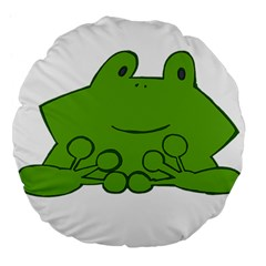 Illustrain Frog Animals Green Face Smile Large 18  Premium Flano Round Cushions by Mariart
