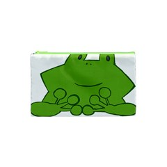 Illustrain Frog Animals Green Face Smile Cosmetic Bag (xs) by Mariart