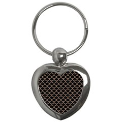 Scales1 Black Marble & Brown Colored Pencil Key Chain (heart) by trendistuff