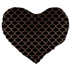 Scales1 Black Marble & Brown Colored Pencil Large 19  Premium Flano Heart Shape Cushion by trendistuff