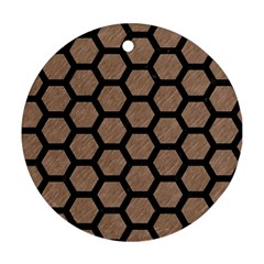 Hexagon2 Black Marble & Brown Colored Pencil (r) Round Ornament (two Sides) by trendistuff