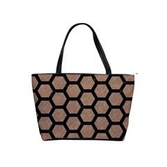 Hexagon2 Black Marble & Brown Colored Pencil (r) Classic Shoulder Handbag by trendistuff