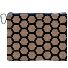 Hexagon2 Black Marble & Brown Colored Pencil (r) Canvas Cosmetic Bag (xxxl) by trendistuff