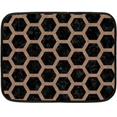 Hexagon2 Black Marble & Brown Colored Pencil Double Sided Fleece Blanket (mini) by trendistuff