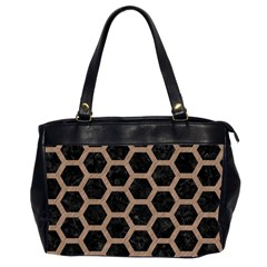 Hexagon2 Black Marble & Brown Colored Pencil Oversize Office Handbag (2 Sides) by trendistuff