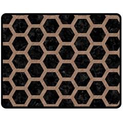 Hexagon2 Black Marble & Brown Colored Pencil Fleece Blanket (medium) by trendistuff