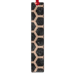 Hexagon2 Black Marble & Brown Colored Pencil Large Book Mark by trendistuff