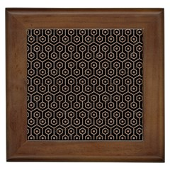 Hexagon1 Black Marble & Brown Colored Pencil Framed Tile by trendistuff