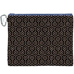 Hexagon1 Black Marble & Brown Colored Pencil Canvas Cosmetic Bag (xxxl) by trendistuff
