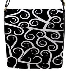 Koru Vector Background Black Flap Messenger Bag (s) by Mariart