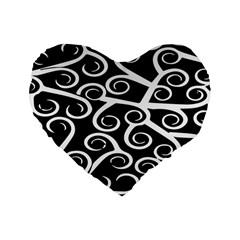 Koru Vector Background Black Standard 16  Premium Flano Heart Shape Cushions by Mariart