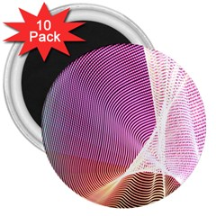 Light Means Net Pink Rainbow Waves Wave Chevron 3  Magnets (10 Pack)  by Mariart