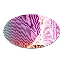 Light Means Net Pink Rainbow Waves Wave Chevron Oval Magnet by Mariart