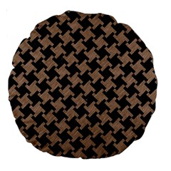 Houndstooth2 Black Marble & Brown Colored Pencil Large 18  Premium Round Cushion  by trendistuff