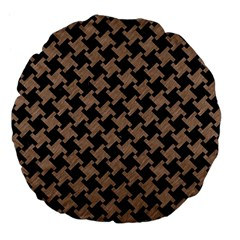 Houndstooth2 Black Marble & Brown Colored Pencil Large 18  Premium Flano Round Cushion  by trendistuff