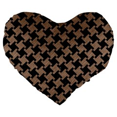 Houndstooth2 Black Marble & Brown Colored Pencil Large 19  Premium Flano Heart Shape Cushion by trendistuff