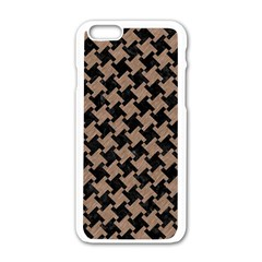 Houndstooth2 Black Marble & Brown Colored Pencil Apple Iphone 6/6s White Enamel Case by trendistuff