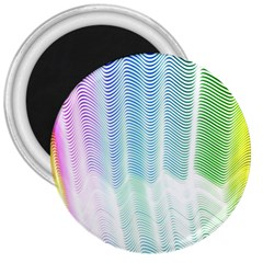 Light Means Net Pink Rainbow Waves Wave Chevron Green 3  Magnets by Mariart