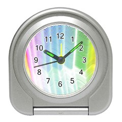Light Means Net Pink Rainbow Waves Wave Chevron Green Travel Alarm Clocks by Mariart