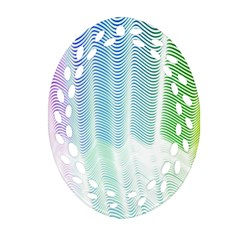 Light Means Net Pink Rainbow Waves Wave Chevron Green Ornament (oval Filigree) by Mariart