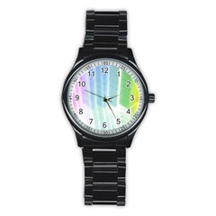 Light Means Net Pink Rainbow Waves Wave Chevron Green Stainless Steel Round Watch by Mariart