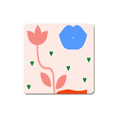 Lip Sexy Flower Tulip Heart Pink Red Blue Green Love Square Magnet by Mariart