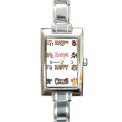 Lucky Happt Good Sign Star Rectangle Italian Charm Watch by Mariart