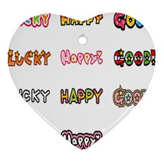 Lucky Happt Good Sign Star Ornament (heart) by Mariart