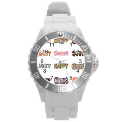 Lucky Happt Good Sign Star Round Plastic Sport Watch (l) by Mariart