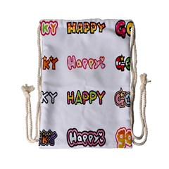 Lucky Happt Good Sign Star Drawstring Bag (small) by Mariart