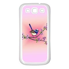 Little Blue Wren Samsung Galaxy S3 Back Case (white) by retz