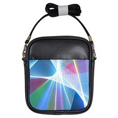 Light Means Net Pink Rainbow Waves Wave Chevron Green Blue Sky Girls Sling Bags by Mariart