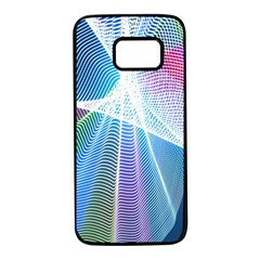 Light Means Net Pink Rainbow Waves Wave Chevron Green Blue Sky Samsung Galaxy S7 Black Seamless Case by Mariart