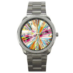 Illustration Material Collection Line Rainbow Polkadot Polka Sport Metal Watch by Mariart