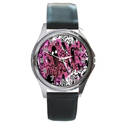 Octopus Colorful Cartoon Octopuses Pattern Black Pink Round Metal Watch by Mariart