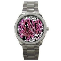 Octopus Colorful Cartoon Octopuses Pattern Black Pink Sport Metal Watch by Mariart